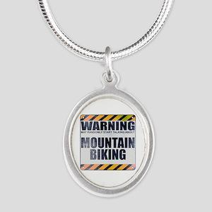 Warning: Mountain Biking Silver Oval Necklace