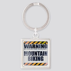 Warning: Mountain Biking Square Keychain