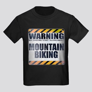 Warning: Mountain Biking Kids Dark T-Shirt