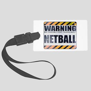 Warning: Netball Large Luggage Tag