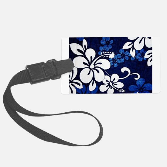 blue hibiscus BG Luggage Tag
