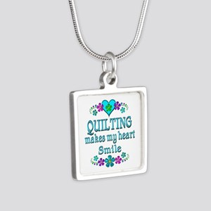 Quilting Smiles Silver Square Necklace