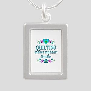 Quilting Smiles Silver Portrait Necklace