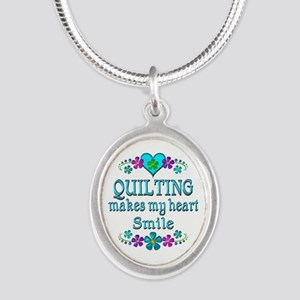Quilting Smiles Silver Oval Necklace