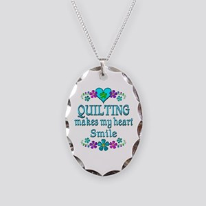 Quilting Smiles Necklace Oval Charm