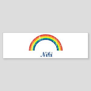 Niki vintage rainbow Bumper Sticker