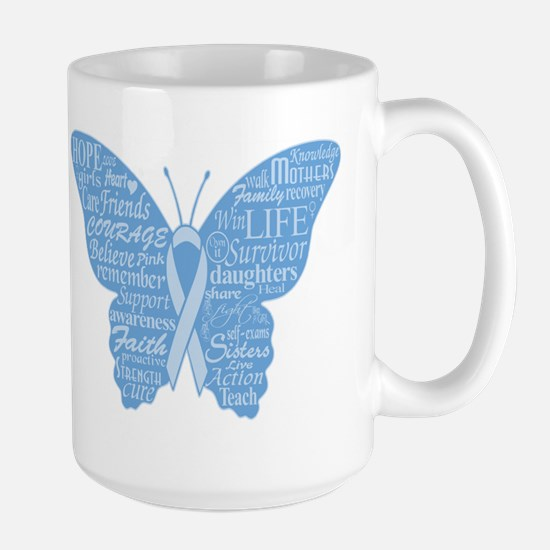 Word Butterfly in Light Blue Large Mug