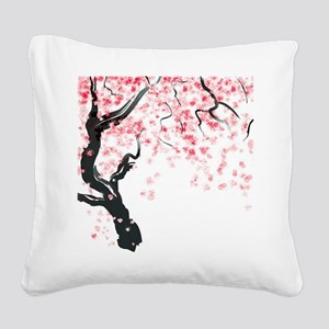 Japanese Cherry Tree Square Canvas Pillow