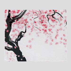Japanese Cherry Tree Throw Blanket