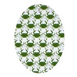 Blue Crab Pattern Oval Ornament
