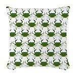 Blue Crab Pattern Woven Throw Pillow