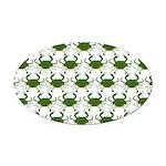 Blue Crab Pattern Oval Car Magnet