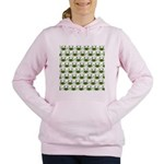 Blue Crab Pattern Women's Hooded Sweatshirt