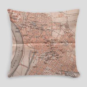 Vintage Map of Belgrade Serbia (19 Everyday Pillow