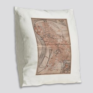 Vintage Map of Belgrade Serbia Burlap Throw Pillow
