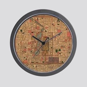 Vintage Map of Beijing China (1914) Wall Clock