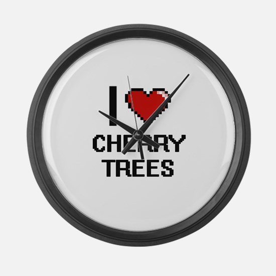 I love Cherry Trees digital desig Large Wall Clock
