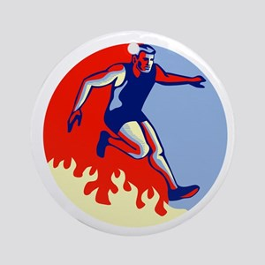 Obstacle Racing Jumping Fire Retro Round Ornament