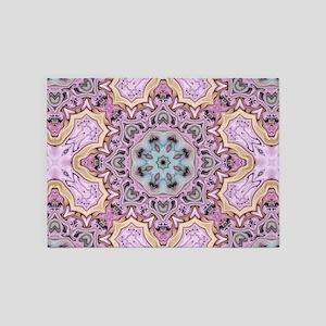 pink bohemian floral mandala 5'x7'Area Rug