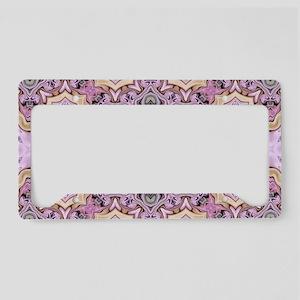 pink bohemian floral mandala License Plate Holder