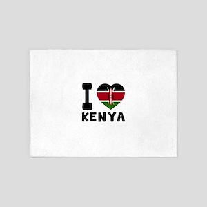 I Love Kenya 5'x7'Area Rug