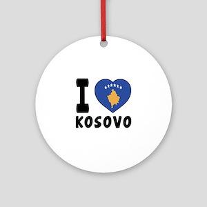 I Love Kosovo Round Ornament