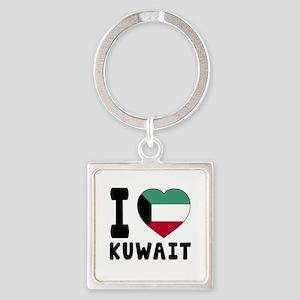 I Love Kuwait Square Keychain
