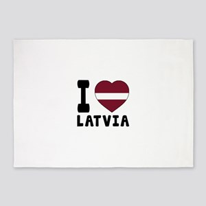 I Love Latvia 5'x7'Area Rug