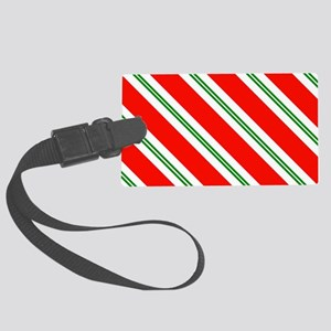 Candy Cane Red & Green Stripes P Large Luggage Tag