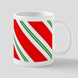 Candy Cane Red & Green Stripes Pattern Mug