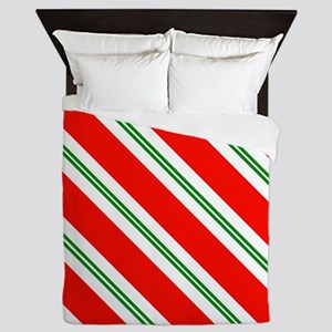 Candy Cane Red & Green Stripes Pattern Queen Duvet
