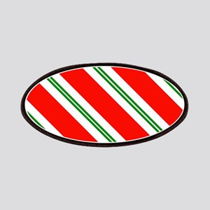 Candy Cane Red & Green Stripes Pattern Patch