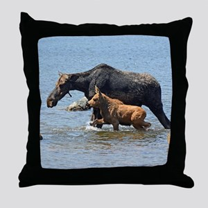 Cow & Calf Moose Throw Pillow