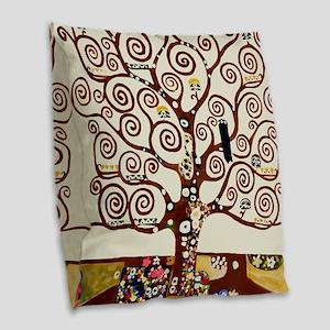 Klimt tree of life Burlap Throw Pillow