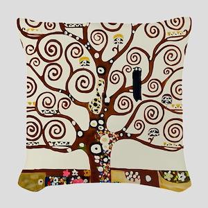 Klimt tree of life Woven Throw Pillow