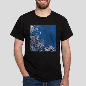 beach blue white lace T-Shirt