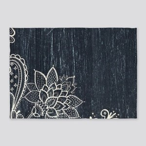 white lace black chalkboard 5'x7'Area Rug