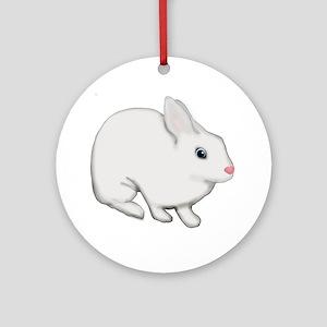 Blue Eyed White Bunny Rabbit Round Ornament