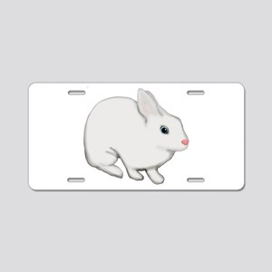 Blue Eyed White Bunny Rabbit Aluminum License Plat