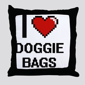 I love Doggie Bags digital design Throw Pillow