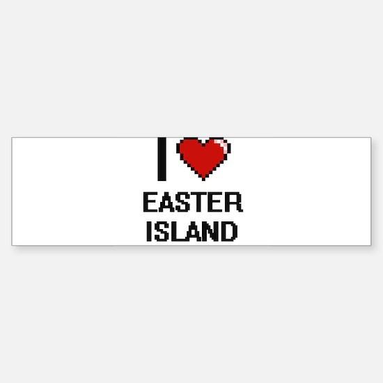 I love Easter Island digital design Bumper Bumper Bumper Sticker