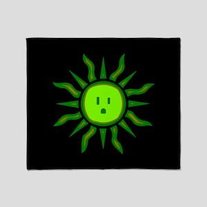 Green Electric Sun Throw Blanket