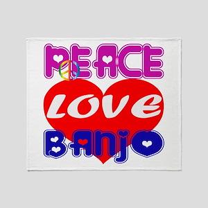 Peace Love Banjo Throw Blanket
