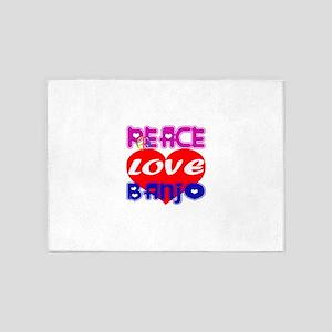 Peace Love Banjo 5'x7'Area Rug
