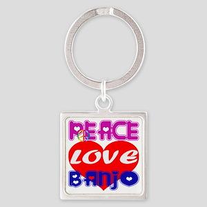 Peace Love Banjo Square Keychain