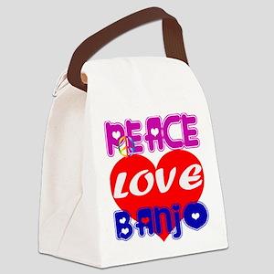 Peace Love Banjo Canvas Lunch Bag
