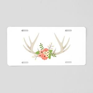 Deer Antler Flowers Aluminum License Plate