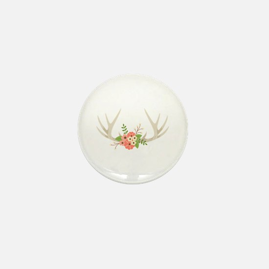 Deer Antler Flowers Mini Button