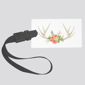Deer Antler Flowers Luggage Tag