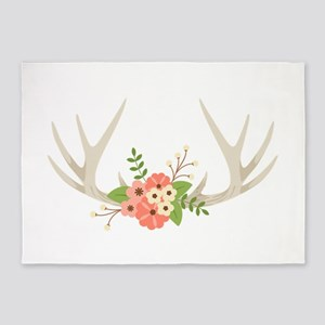 Deer Antler Flowers 5'x7'Area Rug